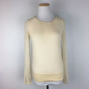 Ann Taylor Women Ivory Sheer  Sweater Top Shirt
